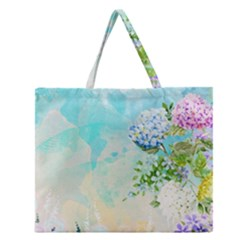Watercolor Fresh Flowery Background Zipper Large Tote Bag