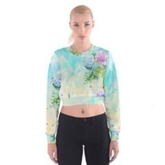 Watercolor Fresh Flowery Background Women s Cropped Sweatshirt