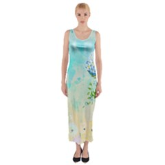 Watercolor Fresh Flowery Background Fitted Maxi Dress