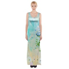 Watercolor Fresh Flowery Background Maxi Thigh Split Dress