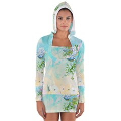 Watercolor Fresh Flowery Background Women s Long Sleeve Hooded T-shirt