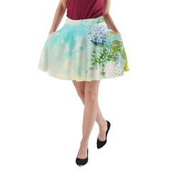 Watercolor Fresh Flowery Background A-Line Pocket Skirt