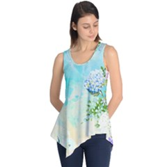 Watercolor Fresh Flowery Background Sleeveless Tunic