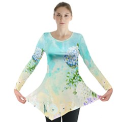 Watercolor Fresh Flowery Background Long Sleeve Tunic