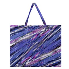 Abstract Collage Print Zipper Large Tote Bag