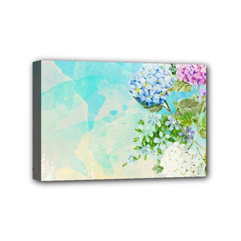 Watercolor Fresh Flowery Background Mini Canvas 6  x 4