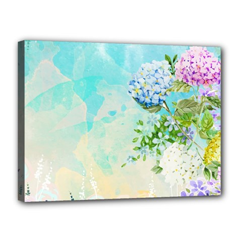 Watercolor Fresh Flowery Background Canvas 16  x 12