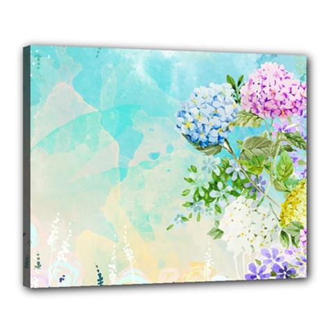 Watercolor Fresh Flowery Background Canvas 20  x 16
