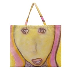 Portrait Of Archangel Michael, Spiritual Chalks Drawing Zipper Large Tote Bag