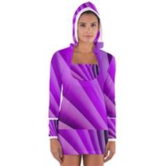Gentle Folds Of Purple Women s Long Sleeve Hooded T Shirt