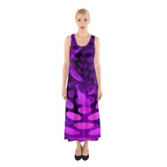 Abstract In Purple Sleeveless Maxi Dress