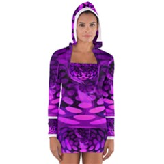 Abstract In Purple Women s Long Sleeve Hooded T-shirt