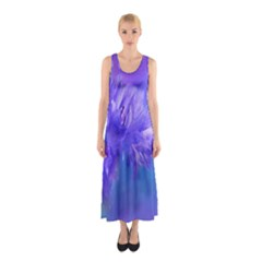 Purple Cornflower Floral  Sleeveless Maxi Dress
