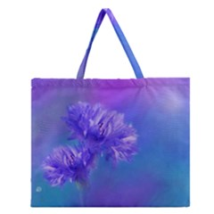 Purple Cornflower Floral  Zipper Large Tote Bag
