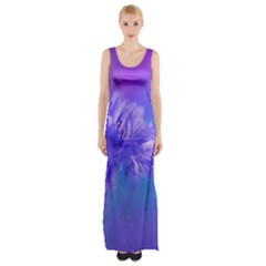 Purple Cornflower Floral  Maxi Thigh Split Dress