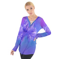 Purple Cornflower Floral  Women s Tie Up Tee
