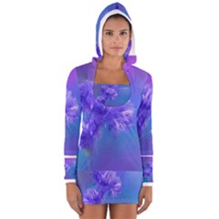 Purple Cornflower Floral  Women s Long Sleeve Hooded T-shirt