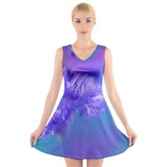 Purple Cornflower Floral  V Neck Sleeveless Skater Dress