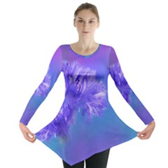 Purple Cornflower Floral  Long Sleeve Tunic