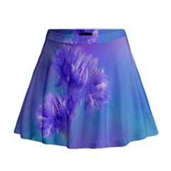 Purple Cornflower Floral  Mini Flare Skirt