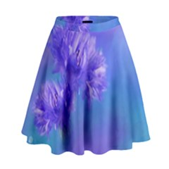 Purple Cornflower Floral  High Waist Skirt