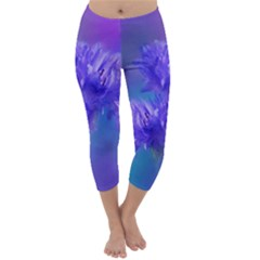 Flowers Cornflower Floral Chic Stylish Purple  Capri Winter Leggings