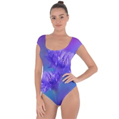 Flowers Cornflower Floral Chic Stylish Purple  Short Sleeve Leotard (ladies)