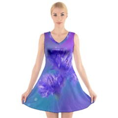 Flowers Cornflower Floral Chic Stylish Purple  V-Neck Sleeveless Skater Dress