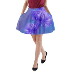Flowers Cornflower Floral Chic Stylish Purple  A-Line Pocket Skirt