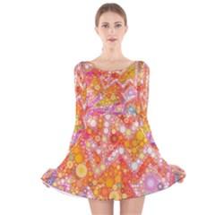 Sunshine Bubbles Long Sleeve Velvet Skater Dress