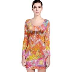 Sunshine Bubbles Long Sleeve Velvet Bodycon Dress
