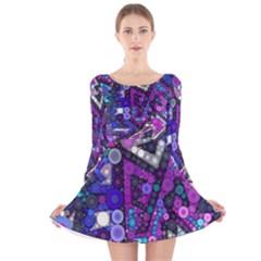 Hipster Bubbes Long Sleeve Velvet Skater Dress