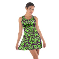 Purple & Green Damask Cotton Racerback Dress