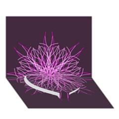 Pink Kaleidoscope Flower Mandala Art Heart Bottom 3d Greeting Card (7x5)