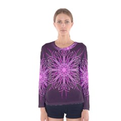 Pink Kaleidoscope Flower Mandala Art Women s Long Sleeve Tee