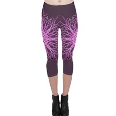 Pink Kaleidoscope Flower Mandala Art Capri Leggings