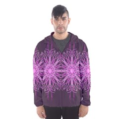 Pink Kaleidoscope Flower Mandala Art Hooded Wind Breaker (men)