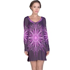 Pink Kaleidoscope Flower Mandala Art Long Sleeve Nightdress