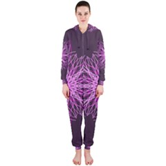 Pink Kaleidoscope Flower Mandala Art Hooded Jumpsuit (ladies)