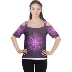 Pink Kaleidoscope Flower Mandala Art Women s Cutout Shoulder Tee