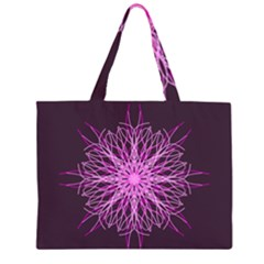 Pink Kaleidoscope Flower Mandala Art Large Tote Bag