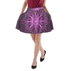 Pink Kaleidoscope Flower Mandala Art A-Line Pocket Skirt