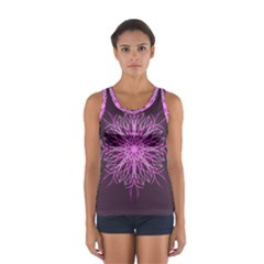 Pink Kaleidoscope Flower Mandala Art Tops