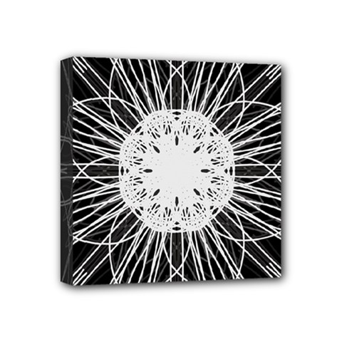 Black And White Flower Mandala Art Kaleidoscope Mini Canvas 4  X 4