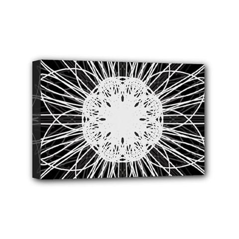 Black And White Flower Mandala Art Kaleidoscope Mini Canvas 6  X 4