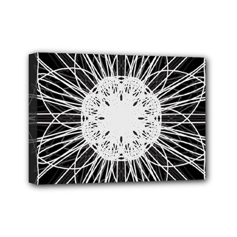Black And White Flower Mandala Art Kaleidoscope Mini Canvas 7  X 5