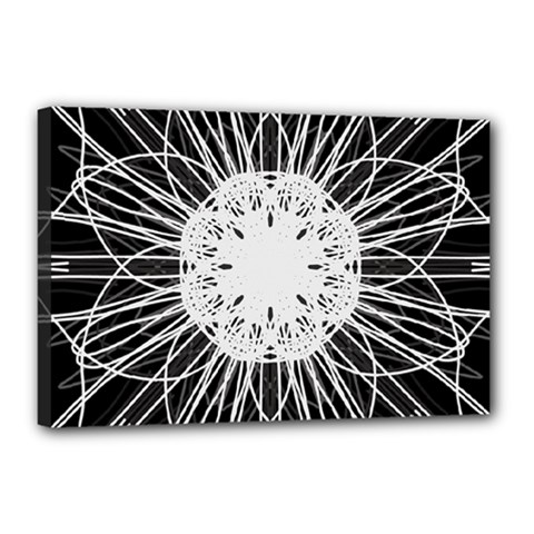 Black And White Flower Mandala Art Kaleidoscope Canvas 18  X 12
