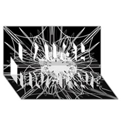 Black And White Flower Mandala Art Kaleidoscope Laugh Live Love 3d Greeting Card (8x4)