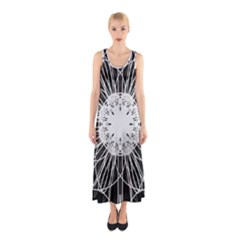 Black And White Flower Mandala Art Kaleidoscope Sleeveless Maxi Dress