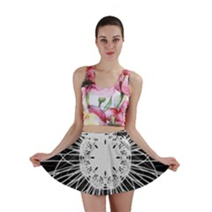 Black And White Flower Mandala Art Kaleidoscope Mini Skirt